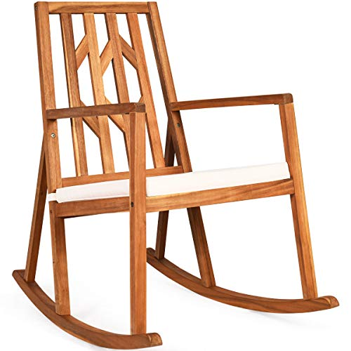 CASART. Wooden Rocking Chair with Cushion, Outdoor Indoor Garden Patio Balcony Porch Seat Rocker Chairs