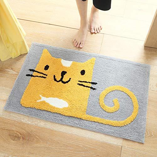 Alfombra de baño amarilla con diseño de gato