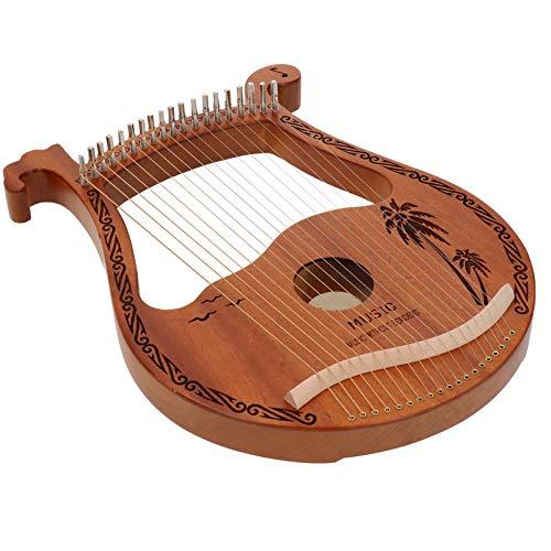 Cerlingwee Madera de Caoba Estable Tallada fácil de Tocar Lira de 19 Cuerdas, Arpa, Borde Redondeado de Alta dureza y Densidad para Adultos y niños