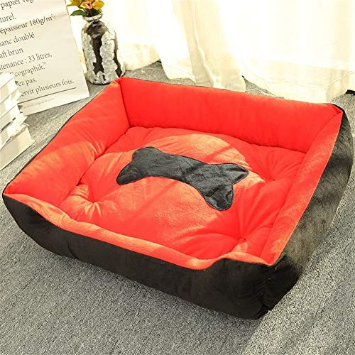 AleXanDer1 Haustierbett Knochen-förmigen Hundebett, Hundehaus-Mat, Warm Kennel, Weiches Nest, Warm Zwinger for Schlafen, Zooplus Tiere, Katzen Und Welpen (Color : Red, Size : L)