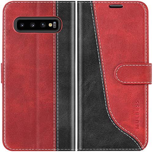 Mulbess Handyhülle für Samsung Galaxy S10 Plus Hülle Leder, Samsung Galaxy S10 Plus Handy Hüllen, Modisch Flip Handytasche Schutzhülle für Samsung Galaxy S10 Plus / s10+, Wine Rot