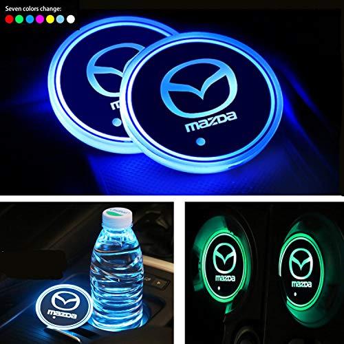 Interestingcar LED Auto Getränkehalter Lichter, LED Auto Logo Getränkehalter Pad wasserdichte Flasche Getränke Coaster LED Tasse Matte Auto Atmosphäre Lampe 2 STÜCKE (fit Ma-zda)