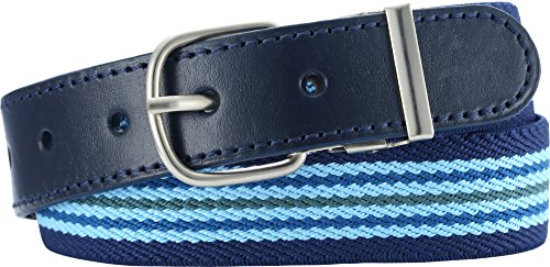 Playshoes Unisex - Kinder Gürtel 601301 Elastischer Kinder Gürtel gestreift mit echtem Leder, Gr. 75, Blau (hellblau/marine)