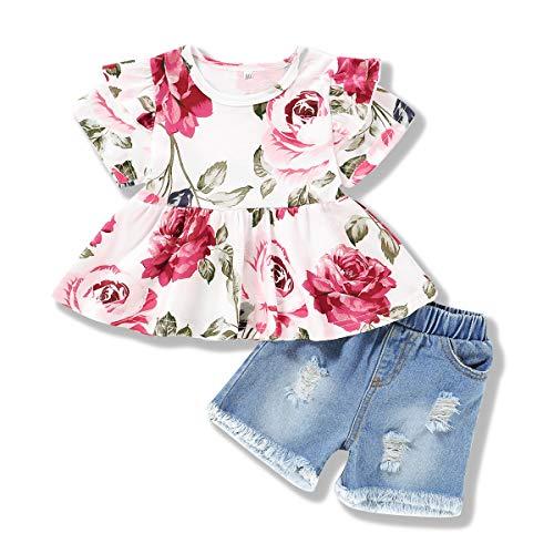 ZOEREA Babykleidung Set Mädchen Sommer Outfit Rüsche Kurzarm Blumen Top + Jeans Shorts Neugeborene Baby Mädchen Kleidung Set Babyset 0-4 Jahre