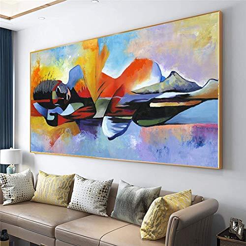 Abaabul Peinture à lhuile sur toile représentant un grand Bouddha du Seigneur - 80 x 150 cm - Sans cadre