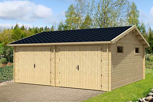 *Alpholz Holz Doppelgarage Varberg-44 ISO, 44 mm Wandstärke (595 x568cm)*