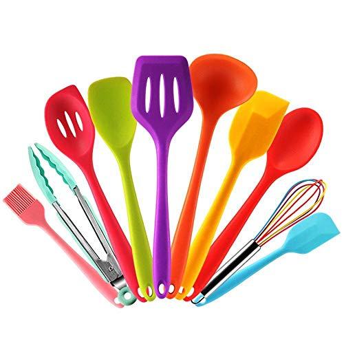 Wean 10 utensilios de cocina de silicona de colores de colores, espátula, cuchara, cuchara de servir, espátula, batidor de cocina, pinzas, cepillo resistente al calor