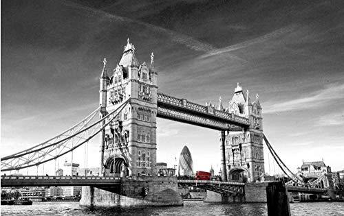 Puente De Londres Mapa En Blanco Y Negro 98 Piezas Wooden Jigsaw Puzzles Juego De Rompecabezas De Relajación Alivie El Estrés Juego Adulto La Pared del Hogar Pintura
