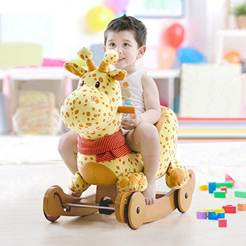 Labebe Baby Schaukelpferd Holz, 2-in-1 Schaukelpferd mit Räder, Schaukeltier Giraffe Gelbe für Baby 1-3 Jahre Alt, Schaukel Pferd/Schaukel Baby/Schaukeltier Musik/Schaukel Kinder/Schaukel Spielzeug - 2