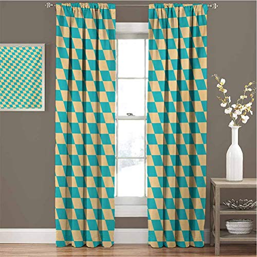 Geometric Blackout Curtain Set Art Deco Style Chess Table Dart Like Horizontal Vintage Image Kindergarten Shading Insulation W84 x L108 Inch Turquoise and Pale Yellow