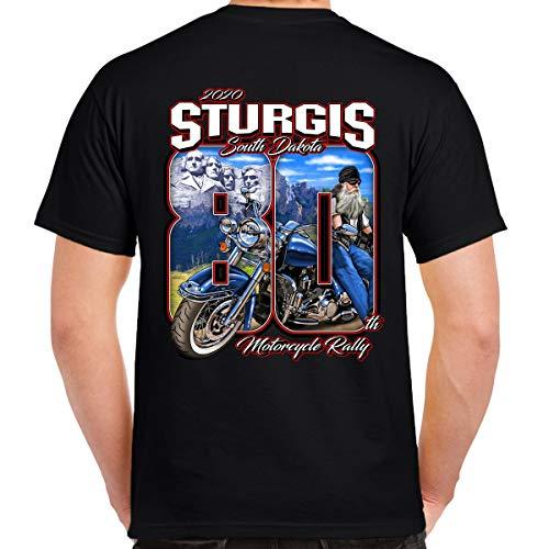 Biker Life Clothing 2020 Sturgis Motorcycle Rally 80th Anniversary T-Shirt (Black, Large)