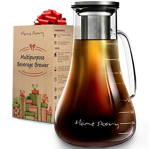 Cold Brew Coffee Maker Glass - Cold Brew Maker 52 oz - Cold Coffee Brewer Pitcher and Iced Tea Cold Brewing Coffee Maker - Works Even as Cold Press Coffee Maker or Hot Tea Maker Infuser Carafe Kit