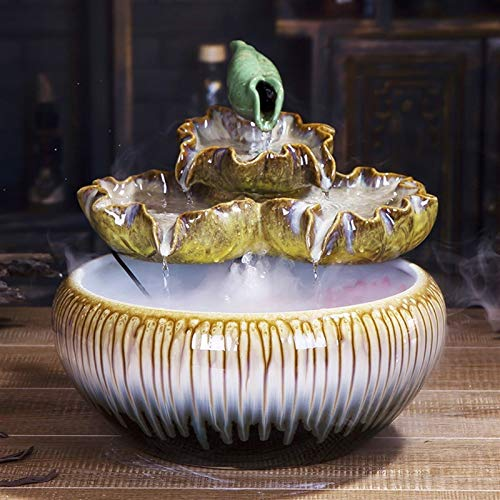 YAOLUU Indoor Waterfall Ceramic Stacking Tabletop Fountain and Pedestal Zen Interior Decoration Fountain Best Tabletop Decoration Gifts Desktop Fountain