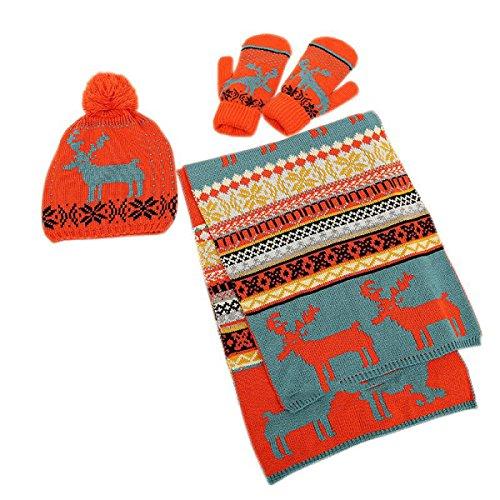 Donna Inverno Caldo Sciarpa Cappello Guanti Spessore Esterno Sci Maglia Regali Di Natale Set