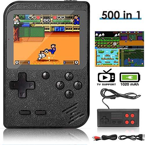 DigitCont 500 Handheld Klassische Spielen 3-Zoll-LCD-Bildschirm tragbare Retro-Spielkonsole Unterstützt das Anschließen an den TV-Anschluss und das gleichzeitige Spielen Zwei Spielern Schwarz