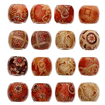 Keyzone Wholesale 100pcs 17mm Mixed Painted Drum Wood Spacer Beads Wooden Beads for DIY Jewelry Making Hair Accessories