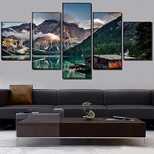 GHYTR Paisaje Montaña Lago Reflejo Lienzo 5 Piezas Abstracto Pared Arte Pintura Grandes Cuadros Marco 150×80Cm Cartel Pared Decoracion Hogar Murales Pared Sala Dormitorio Regalo