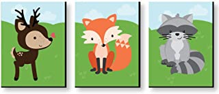Big Dot of Happiness Woodland Creatures - Gender Neutral Forest Animal Nursery Wall Art and Kids Room Decorations - Christmas Gift Ideas - 7.5 x 10 inches - Set of 3 Prints