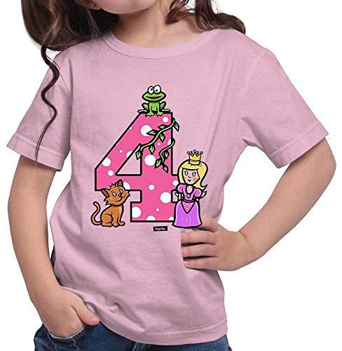 Hariz - Camiseta de manga corta para niña con diseño de cuento de princesa Rosa. 4 años