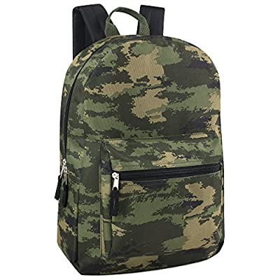Trailmaker Boys Printed 17 Inch Backpack with Pencil Pouch for School, Travel, Hiking, Camping (Camo)
