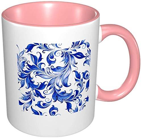 Taza de café de porcelana con diseño floral de acuarela colorida, interior con mango de cerámica para capuchino, té, cacao y cereales rosa, 11 oz