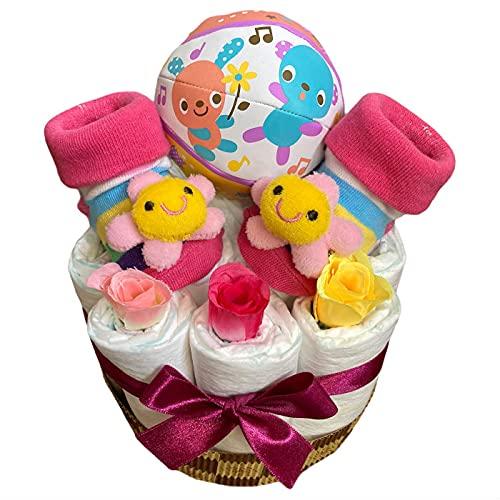 おむつケーキ 男の子 出産祝い プチギフト ボール フラワーソックス ボーイ パンパース新生児サイズ