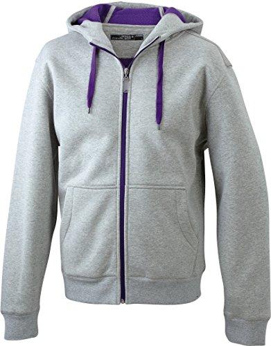 JN355-1 Men´s Doubleface Jacke Sweatjacke Kapuze Sweatshirt, Farbe:grey heather-purple;Herrengrößen:S S,grey heather-purple