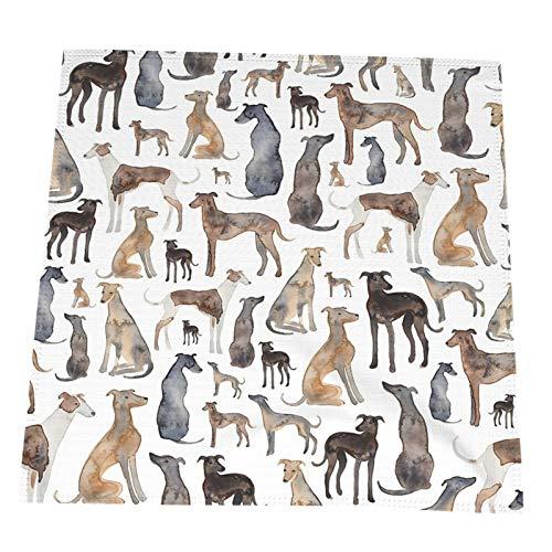 Servilletas de tela para comer, decoración de mesa, diseño de galgos, toallitas y perros Lurcher, 4 unidades de 50.8 x 50.8 cm, reutilizables y duraderas, ideales para fiestas, restaurantes, hoteles