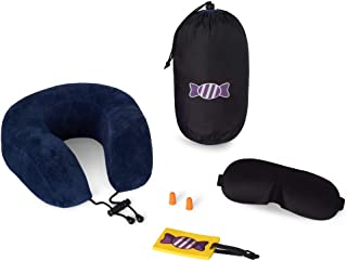 Travel Pillow Set - Memory Foam Travel Neck Pillow With 3D Eye Mask & Ear Plugs - Portable Light Weight With Carry Bag - Soft Velour Travel Pillow - Relax Rest & Sleep in Comfort - BONUS Luggage Tag