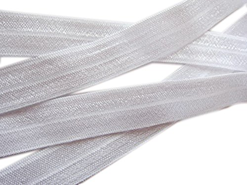 Sale YYCRAFT Thick Fold Over Elastic Stretch Foldover FOE Elastics for Hair Ties Headbands 20 Yards (White)