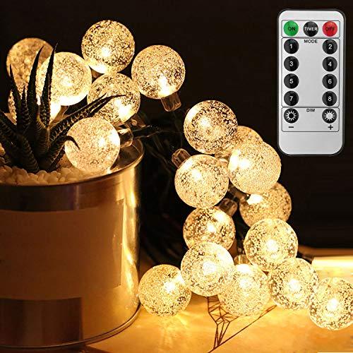 SunTop Guirnalda Luces,50 LEDs 5m Cadena de Luces con Control Remoto, Luces Decorativas, Luces Guirnaldas Luminosas para Exterior,Interior, ardines, Casas, Boda, Fiestas