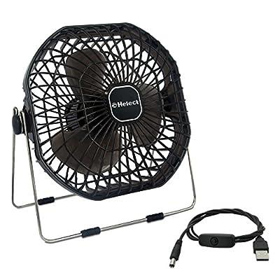 Helect USB Fan, 18cm Frame Mini USB Table Desk Personal Fan Quiet Rotatable (Black) - H1055