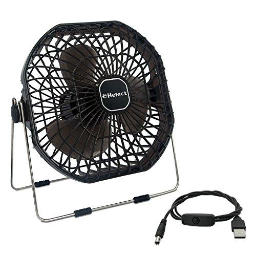Helect 18cm Portátil Mini Ventilador USB de Mesa, Ruido Bajo, Interruptor de Encendido/Apagado, Negro