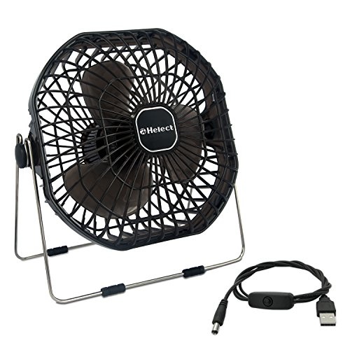 Helect USB Fan, 7-Inch Frame Mini USB Table Desk Personal Fan Quiet Rotatable (Black) - H1055