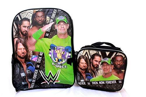 WWE John Cena Roman Reigns Wrestling School Backpack Bookbag Insulated Lunch Box + Name Tag (3 Pieces SET)