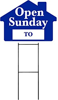 Open Sunday Sign Kit with Area for Time - Blue House Shape Corrugated Sign - Includes 24