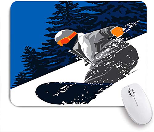 SUHOM Gaming Mouse Pad Rutschfeste Gummibasis,Snowboard Powder Snow,für Computer Laptop Office Desk,240 x 200mm
