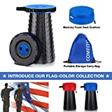 ComfiTime Folding Stool (Blue) – Portable Foldable Stool for Indoor (Kitchen/Bathroom) and Outdoor (Camping/Fishing/Hiking/Travel/Garden) Use, Retractable/Collapsible Plastic Stool for Adults or Kids