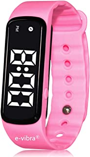 e-vibra 8 Alarm Vibrating Reminder Watch - Water Resistant Medication Vibration Reminder Watches for Kids Toilet Potty Training Aid, ADHD Vibrate Reminder (Pink)