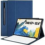 Teclado Funda para Samsung Galaxy Tab S7 Plus 12.4', QWERTY Ultra Slim Teclado con Magnético Desmontable Inalámbrico Bluetooth con Ranura para Lápiz(Incluye Letra Ñ) para 2020 S7+ T970 T975 T976