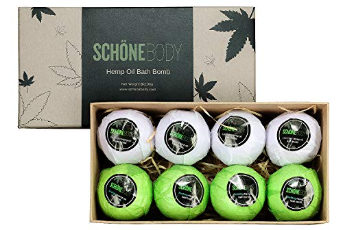 Hemp Bath Bombs Large Set of 8 Bath Bombs By Schone Body 2 relaxing Scents of Refreshing Mint and Hemp Oil and Soothing Lavender and Hemp Oil Made with Pure Essential Oil Vegan Set