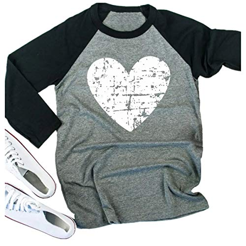 Beopjesk Womens Love Heart Raglans T-Shirts Casual Long Sleeve Valentine's Day Graphic Tees Tops