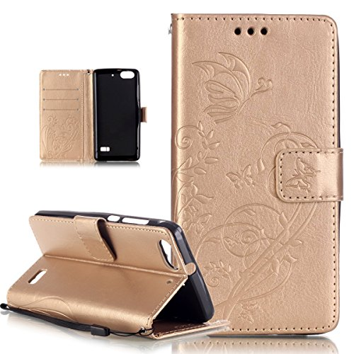 Kompatibel mit Huawei Honor 4C Hülle,Huawei G Play Mini Hülle,Prägung Blumen Reben Schmetterling PU Lederhülle Handyhülle Tasche Flip Wallet Ständer Schutzhülle für Huawei G Play Mini/Honor 4C,Golden