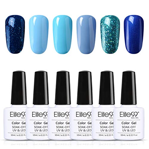 Elite99 Blau Serie UV LED Nagellack Set 10ml, 6 Farbe Blau Glitzer Gel Nail Art Gel Kit, Lack UV Gelnägel 6Stück Gel KIT016