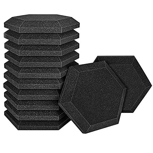 OVBBESS Tablero de Espuma AcúStica de 12 Piezas, Tablero de TalóN con Pendiente de Estudio Hexagonal, para Aislamiento AcúStico, Tratamiento de Ruido, Panel Insonorizado