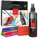 Arteza Whiteboard Zubehör Set mit 12 Feinspitz-Markern, einem magnetischem Schwamm & einem Reinigungsmittel, zur Reinigung von Whiteboards, Lapboards und Glastafeln