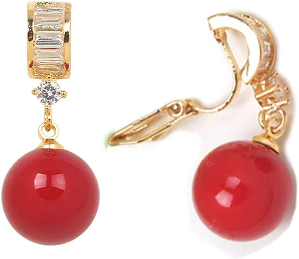 Cubic Zirconia Clip on Earrings non Pierced Soft Pads Red Faux Pearl Dangle CZ Drop Beaded for Women