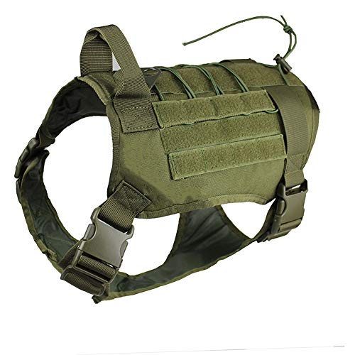 zuoxiangru Tactical Service Dog K9 Working Dog Vest Outdoor Training Hunting Water-Resistant Military Patrol Dog Harness with Handle (L, Army Green)