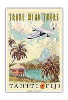 タヒチ、フィジー - トレードウインドツアー - ビンテージ旅行ポスター によって作成された ウェイド コニアコフスキー - アートポスター - 33cm x 48cm