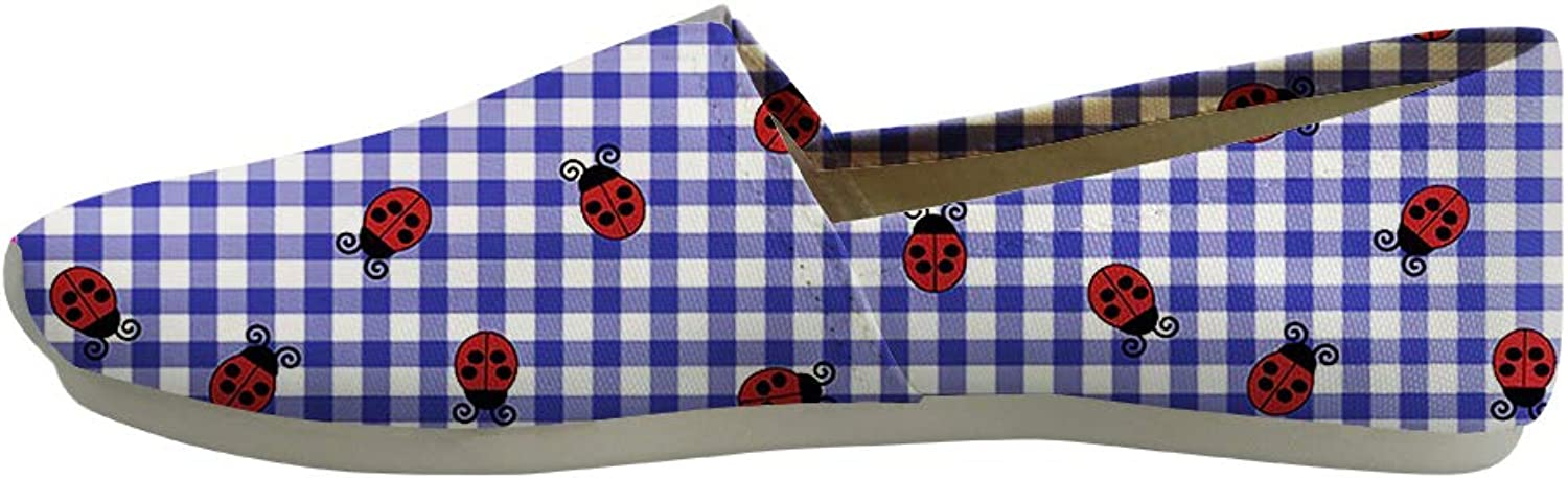 Owaheson Classic Canvas Slip-On Lightweight Driving shoes Soft Penny Loafers Men Women Ohio Symbol Ladybugs On Plaid